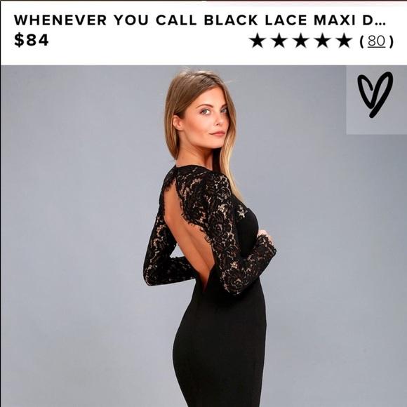 762362b0758a Lulu s Dresses   Skirts - Lulu s whenever you call black lace backless dress